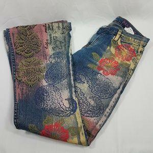 Allen B. Womens Painted Boot Cut Boho Jeans